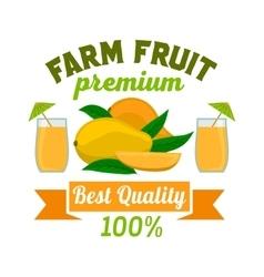 Mango Premium exotic tropical fruit juice emblem vector image