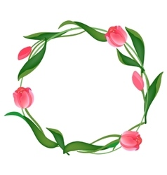 Postcard with a round frame of tulips vector image vector image