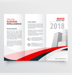 red black wave business trifold leaflet brochure vector image vector image