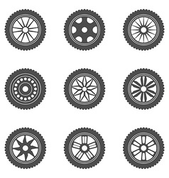Set of car rims tires vector image