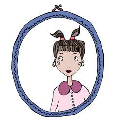 cartoon cute adorable girl in the mirror frame vector image