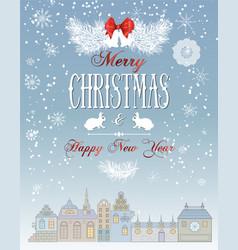 Christmas town card vector image