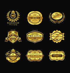 golden badges stickers premium quality isolated vector image