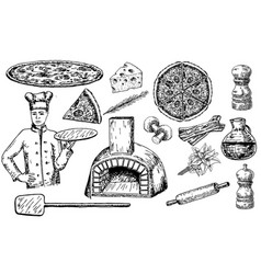 pizza set ink hand drawn vector image vector image