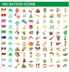 100 nation icons set cartoon style vector image vector image