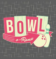 1950s bowling style logo design vector