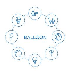 8 balloon icons vector