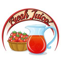 A fresh juice label with a basket of tomatoes and vector image