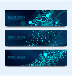 abstract molecules banners set with lines dots vector image