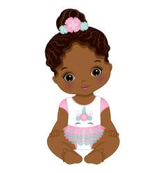 African american unicorn baby girl vector