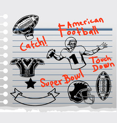 American football theme doddle on paper vector