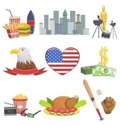 American National Symbols Set vector image