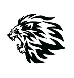 Angry lion head roaring logo template line vector