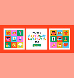Autism awareness day kid toy mosaic icon card set vector