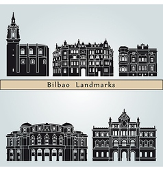 Bilbao landmarks and monuments vector image