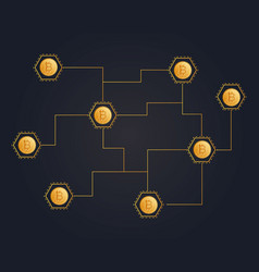 bitcoin cryptocurrency on black background style vector image