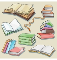 Books set isolated on white background vector image vector image