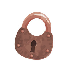 bronze vintage old padlock vector image