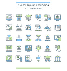 business training and education icon set vector image vector image