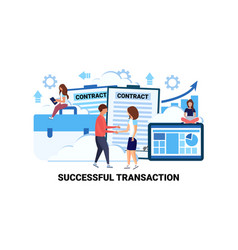 businessman woman handshake after sign up contract vector image