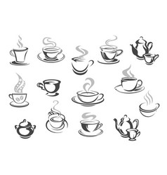 cafe cafeteria coffee mugs tea cups icons vector image