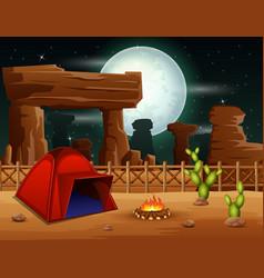 Camping night background in desert vector