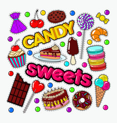 Candy and sweet food doodle with chocolate vector