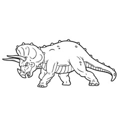cartoon angry triceratops charging line art vector image