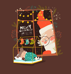 Cartoon santa claus look through window on vector