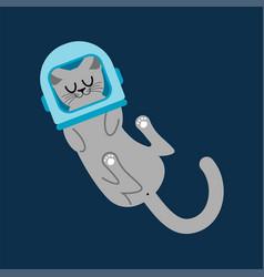 Cat astronaut in cosmonaut helmet home pet in vector