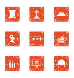 Challenge icons set grunge style vector