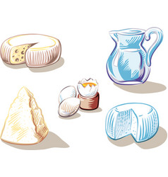 Cheese hard boiled eggs and a jug of milk vector
