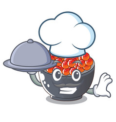 Chef with food salmon roe character ready to eat vector