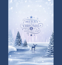 Christmas card with reindeer and snowflakes vector