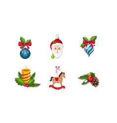 christmas decoration elements set new year vector image