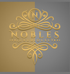 Classic luxurious letter n logo with embossed vector