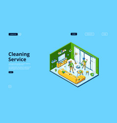Cleaning service isometric landing page vector
