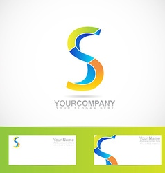 Colored letter S logo 3d vector image