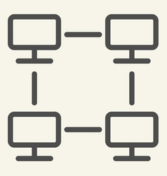 computer network line icon home network vector image