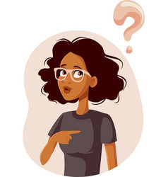 Confused woman pointing to herself asking vector
