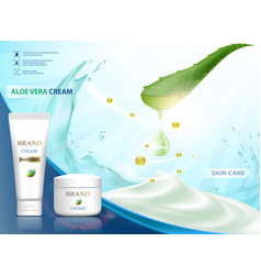 cosmetic cream with aloe vera vector image
