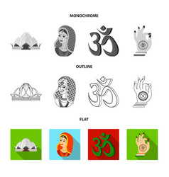 Country india flatoutlinemonochrome icons in set vector