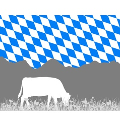 Cow alp and bavarian flag vector image