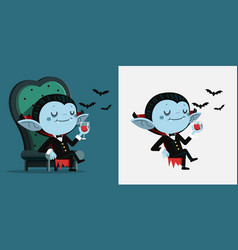 cute cartoon tiny dracula sit in a chair and vector image