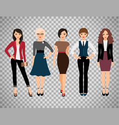 cute young women on transparent background vector image