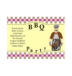 Design elements for barbecue invitation card with vector