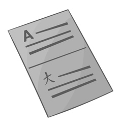 Document in english and japanese icon vector