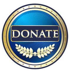 Donate Blue Label vector image