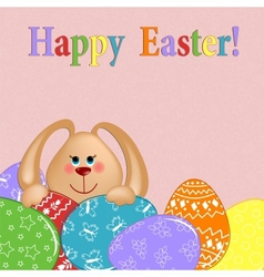 Easter greetings card with rabbit and eggs vector image