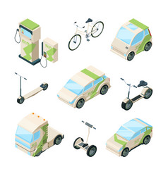 eco transport cars electric scooter skate bikes vector image